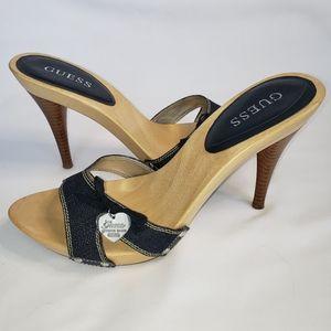 Guess blue jean alide on sandle heel size 10